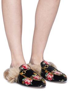 Gucci 'Princetown' floral print lamb fur velvet slide loafers