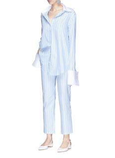 ANNA QUAN 'Melanie' detachable cuff stripe boyfriend shirt