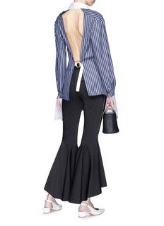 ANNA QUAN 'Reece' open back stripe boyfriend shirt