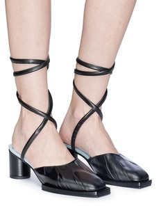 REIKE NEN Ankle tie leather mule sandals