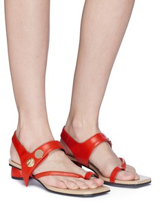 REIKE NEN Toe ring slant band leather slingback sandals