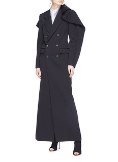 Y/Project Ruffle shoulder double breasted wool coat