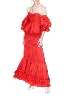 Johanna Ortiz 'Fleur de Geisha' smocked waist tiered ruffle poplin skirt
