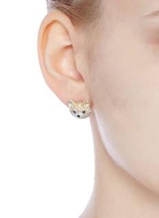 HEFANG Adorable Puppy拼色锆石秋田犬耳钉