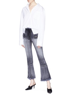 Ben Taverniti Unravel Project  Lace-up patchwork flared jeans