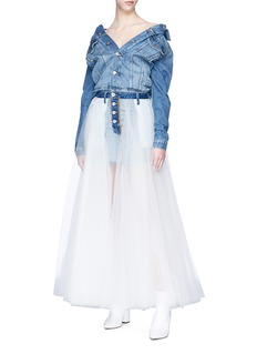 Ben Taverniti Unravel Project  Chiffon overlay reversed denim skirt