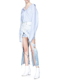 Ben Taverniti Unravel Project  Deconstructed washed denim skirt