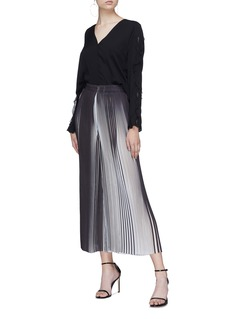 Tome Stripe pleated georgette culottes