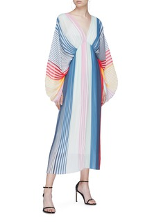 Tome Rainbow stripe pleated georgette dress