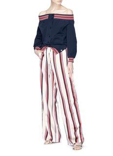 Monse Button outseam stripe print satin wide leg pants