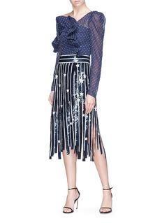 Monse Sequin star fringe stripe silk skirt