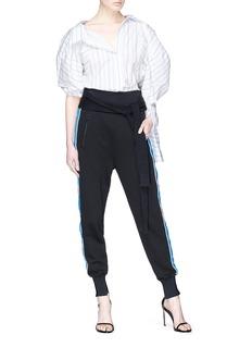 MONSE 品牌名称条纹灯笼袖府绸衬衫