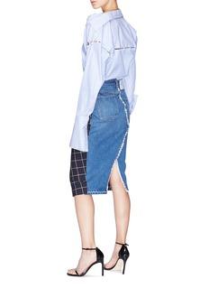Monse Denim back windowpane check wool pencil skirt