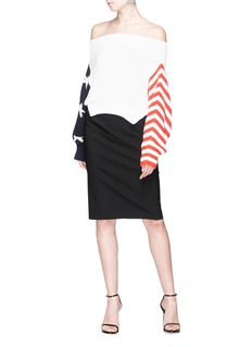 Monse Star and stripe intarsia cropped off-shoulder sweater