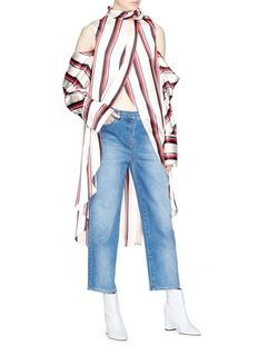 Monse Split front stripe satin cold shoulder kaftan top