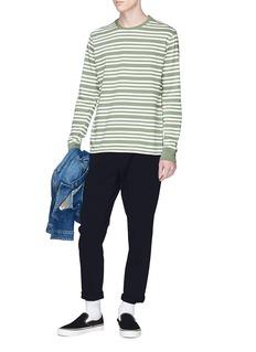 Pop Trading Company 'Pop Triple' logo print stripe long sleeve T-shirt
