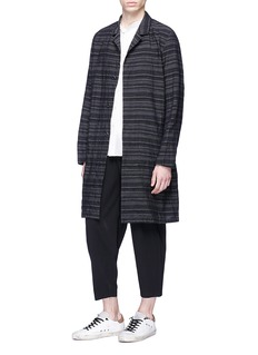 ATTACHMENT Belted mix stripe linen-cotton hopsack coat