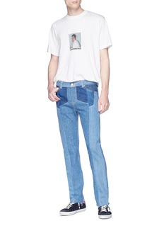 NOVE Patchwork straight leg jeans