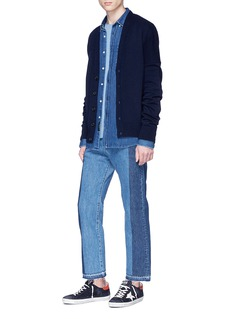 NOVE Patchwork cropped straight leg jeans