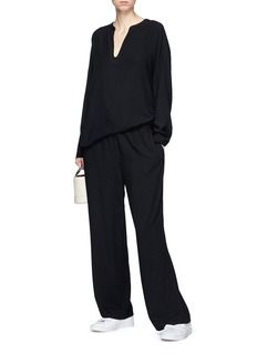 James Perse Drawstring wide leg twill pants
