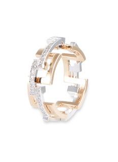 Mellerio 'Graphic' diamond gold interlocking ring
