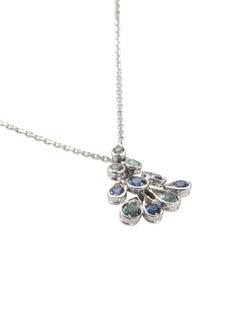 Mellerio 'Indra' sapphire tourmaline 18k white gold pendant necklace