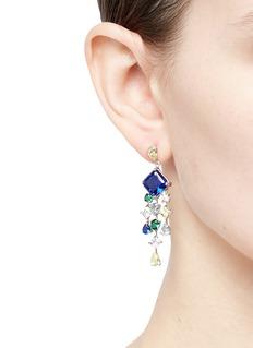 Anabela Chan 'Asscher' gemstone geometric link fringe earrings