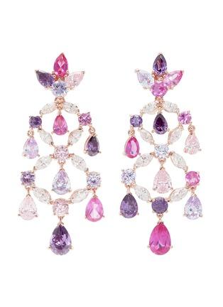 Main View - Click To Enlarge - Anabela Chan - Diamond gemstone 18k gold vermeil chandelier earrings
