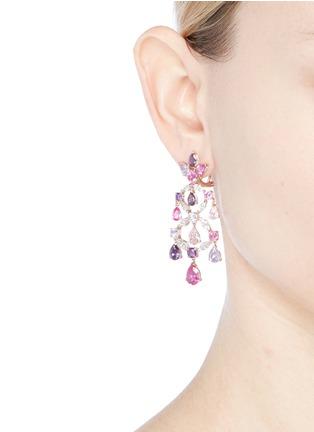 Figure View - Click To Enlarge - Anabela Chan - Diamond gemstone 18k gold vermeil chandelier earrings