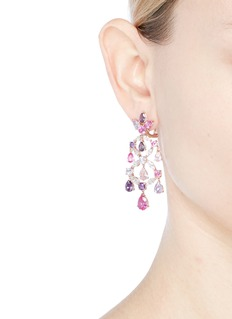 Anabela Chan Diamond gemstone 18k gold vermeil chandelier earrings