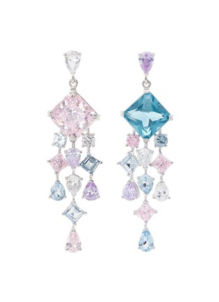 Main View - Click To Enlarge - Anabela Chan - 'Asscher' diamond gemstone geometric link fringe earrings