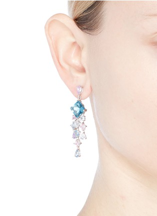 Figure View - Click To Enlarge - Anabela Chan - 'Asscher' diamond gemstone geometric link fringe earrings