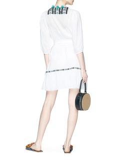 Figue 'Svana' tassel belted embroidered bib gauze dress