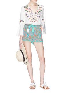 Figue 'Maja' pompom cuff paisley print silk crepe shorts