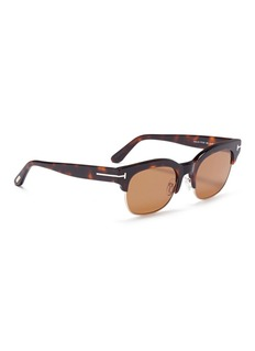 TOM FORD 'Harry' metal rim tortoiseshell acetate square sunglasses