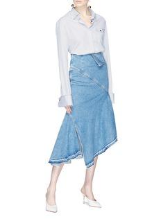 Monse Asymmetric mock wrap denim skirt