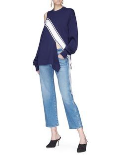 Monse Cutout shoulder asymmetric sash drape wool sweater
