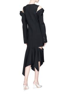 Monse Zip shoulder asymmetric wool blend suiting dress