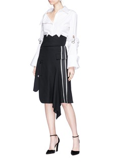 Monse Stripe asymmetric deconstructed wrap blazer skirt