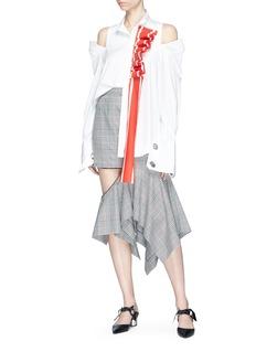 Monse Ruffle sash drape cold shoulder poplin shirt