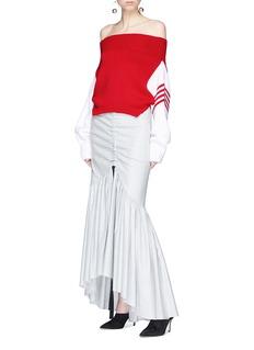 Monse 'Upside Down' wool cropped off-shoulder sweater