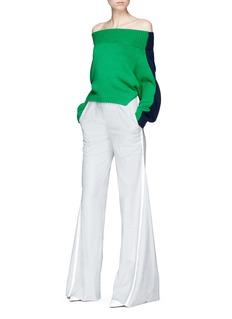 Monse 'Upside Down' colourblock wool cropped off-shoulder sweater
