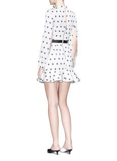 self-portrait Cutout shoulder star print ruffle satin dress