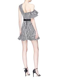 self-portrait Abstract stripe print asymmetric ruffle dress