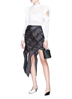 self-portrait Bow asymmetric stripe panelled skirt