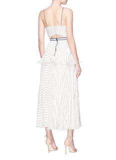 SELF-PORTRAIT 仿两件式条纹百褶吊带连衣裙