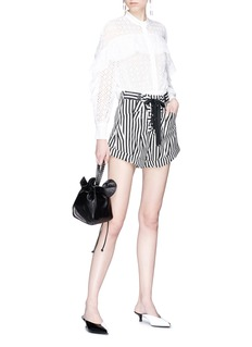 self-portrait Lace-up abstract stripe print flared shorts