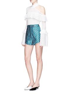 self-portrait Stripe satin shorts