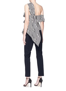 self-portrait Abstract stripe print ruffle one-shoulder jumpsuit