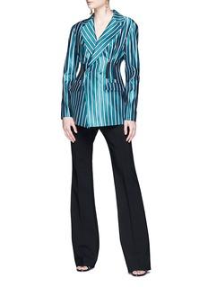 self-portrait Tuck waist stripe satin blazer